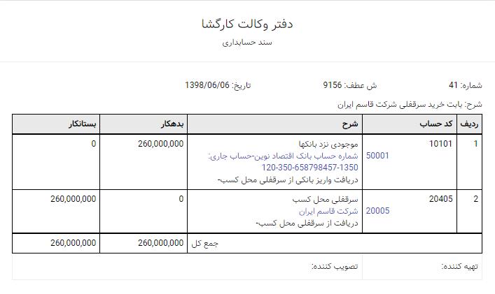 سند حسابداری خرید سرقفلی در نرمافزار حسابداری آنلاین لاندا