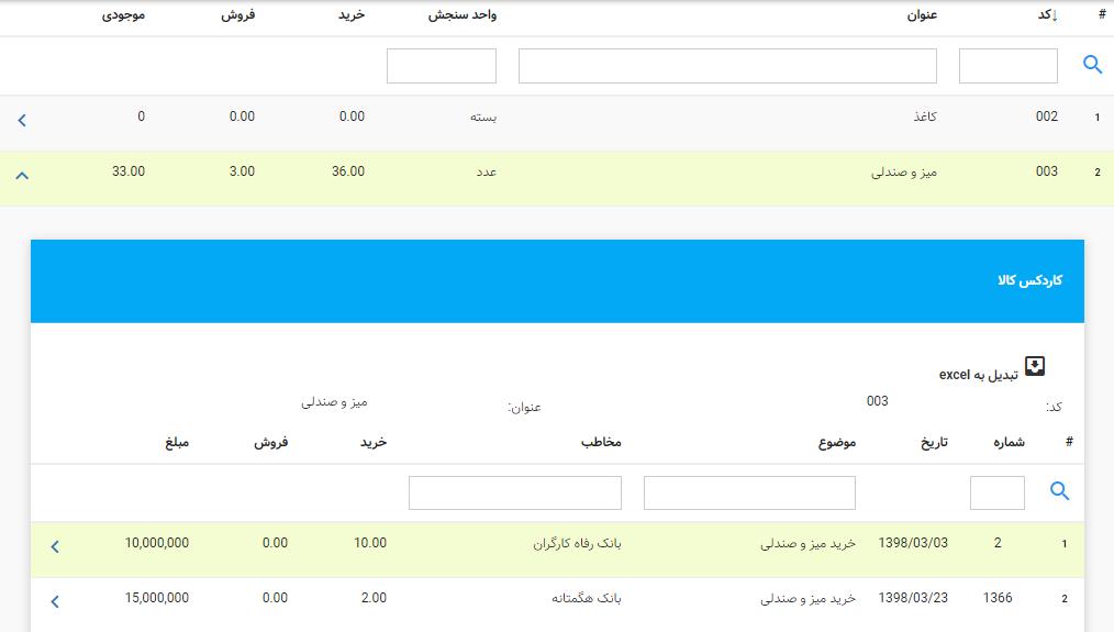 کاردکس کالا در نرمافزار حسابداری آنلاین لاندا